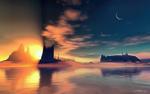 Обои Берег Авалона на закате, by LightDrop