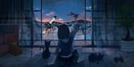 Обои Девочка с самолетом в руке сидит на полу рядом с котятами перед открытым окном