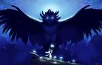 Обои Фантастическая сова с распахнула крылья над белой мышкой с цветком на деревце, by Night-Owl-23
