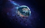 Обои Астероиды на фоне туманности вокруг планеты