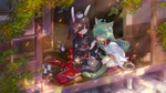 Обои Rabbit girl и neko girl в кимоно сидят на веранде и кушают вкусняшки, by Azur Lane