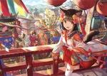 Обои Neko girl / неко-девочка в коротком кимоно стоит на балконе на фоне праздничной процессии на улице японского города