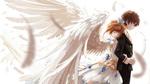 Обои Девочка в белом платье с короной на голове и ангельскими крыльями обнимает мальчика, by Fez