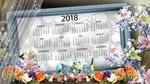 Обои Календарь 2018 года на фоне цветочной композиции, птичек и бабочек