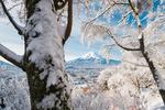 Обои Гора Fuji / Фудзи возвышается над снежным городом Fujiyoshida Yamanashi Prefecture, Japan / Фуцзесида-Яманаси, Япония, фотограф Yuga Kurita