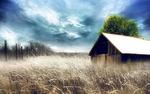 Обои Дом в поле под облачным небом, by webby85