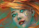 Обои Портрет девушки с бирюзовыми глазами и рыжими волосами, by Harkale-Linai