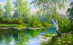 Обои Березка у реки в которой отражаются деревья, художник Елена Самарская