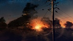 Обои Телеграфный столб с линиями электропередач на фоне заката с птицами в небе, by Y_Y
