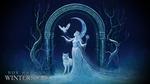 Обои Девушка с посохом, волк и сипуха возле арки зимой, ночью (Nox Ancana, Winter Eve / Nox Ancana, Зимняя ночь), by adamtsiolas