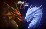 Обои Огненный и ледяной драконы (Fire & Ice / огонь и лед)
