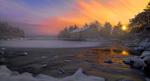 Обои Дом на берегу замершего озера на закате, фотограф Tore H