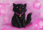 Обои Черный котенок с ошейником с подвеской в виде рыбки на розовом фоне, by antilul