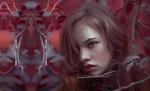 Обои Портрет девушки среди веток кустарника, by Huy Ozuno