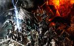 Обои Отряд орков на конях идет в наступление на фоне огня
