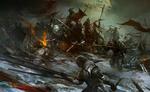 Обои Парень-воин с мечом приготовился сражаться с армией захватчиков