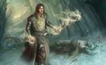 Обои Воин-маг идет по лесу среди поверженных врагов