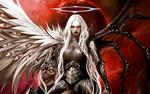 Обои Девушка-ангел-блондинка в доспехах и с нимбом на голове, на фоне планеты