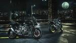 Обои Мотоцикл Ямаха / Yamaha на фоне города ночью под луной