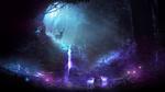 Обои Сияющие олени у водопада в темном лесу, by t1na