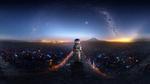 Обои Космонавт с космосом в скафандре стоит на дороге в фантастическом поле, над которым летают светящиеся голубые и огненные бабочки, на фоне звездного неба и зарева над городом в горах вдали, by t1na