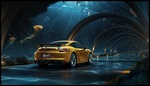 Обои Золотистый Porsche 911 Carrera / Порше 911 Каррера едет по стеклянному тоннелю под водой, by Dmitriy Glazyrin & Behance