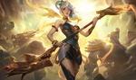 Обои Lux, Lady of Luminosity / Люкс, Леди Свечения стоит с магическим шестом на фоне огромных монстров, из игры League of Legends / Лига Легенд