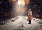 Обои Девочка стоит на снежной дороге с игрушечным мишкой, by Jake Olson Studios
