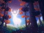 Обои Лесной дух леса в виде оленя, by BlindFoxy