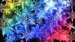 Обои Снежинки, выложенные из пазлов, на разноцветном фоне