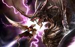 Обои Драконы, большой и маленький, сошлись в битве в небе на фоне молний