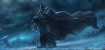 Обои Воин в доспехах и с мечом стоит на заснеженной земле