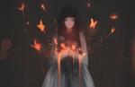 Обои Девушка с огненными бабочками, by Aoi Ogata