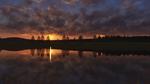 Обои Деревья на берегу озера на фоне закатного неба, by aokcub