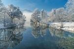 Обои Зимний пейзаж у реки Loisach, Germany / Лойзах, Германия, фотограф Achim Thomae