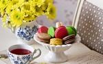 Обои Разноцветные макаруны в белой вазе рядом с чашкой чая и желтыми хризантемами в кувшине