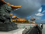 Обои Китайский дворец с желтыми крышами