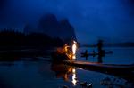 Обои Рыбаки ночью на реке Yangtze, China / Янцзы, Китай, фотограф Fabrizio Massetti