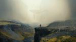 Обои Фотограф с камерой стоит на утесе, на фоне проплывающего в тумане усатого кита, by xLocky