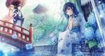 Обои Девушка в кимоно сидит, опустив ноги в воду рядом с кустом голубой гортензии, за ней на мосту стоят под зонтом парень с девушкой