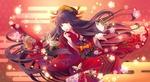 Обои Длинноволосая девушка в кимоно среди цветов и бабочек на красном фоне