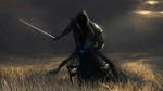 Обои Всадник смерти скачет на коне с шашкой в чистом поле