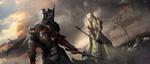 Обои Воин в доспехах и блондин без них готовятся к сражению на поле битвы под мрачным небом