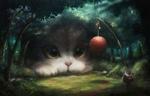 Обои Гиганский котенок в лесу, смотрит на девушку в кимоно, которая стоит с большой палкой, на которой привязан шарик и колокольчики, автор Maxime Schilde