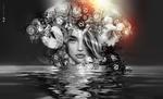 Обои Портрет девушки с цветочно-ягодной композицией на голове, выглядывающая из воды, by AyE