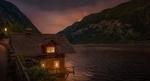 Обои Домик в ночи у озера