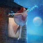 Обои Балерина с бабочками над руками у окна дома, by Валера Сабе