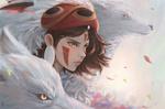 Обои Сан / San из аниме Принцесса Мононоке / Mononoke Hime, by danielju