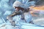 Обои Aurora / Аврора на фоне огня и льда, из игры Paragon / Парагон