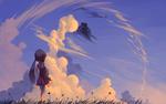 Обои Девочка смотрит на облако в небе, by Gianghanz